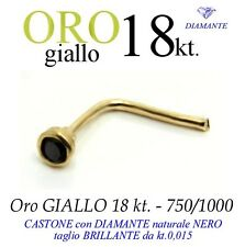 Piercing naso nose ORO GIALLO 18kt DIAMANTE NERO kt.0,015 yellow GOLD DIAMOND