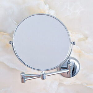 Bathroom Accessories Silver Chrome Wall Mount Beauty Makeup Round Mirror dba633