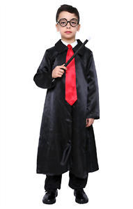 Cape Wizard Robe Costume Kids Halloween Party Cloak Cosplay Witch Harry Potter