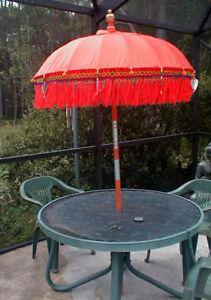 Umbrella Patio One (1) ornamental Bali Indonesia approx 7' x 4'  RED or ORANGE