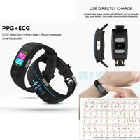 BLACK ECG+PPG Smartwatch Blood Pressure Heart Rate Monitor Bluetooth Wristwatch