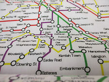 Blanco London Underground Map, British Impresa Tela polycotton