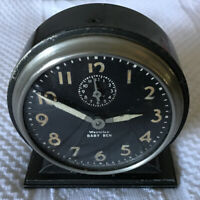 "Antique Westclox Baby Ben Wind Up Alarm Clock 6"" Vintage black face USA Art Deco"