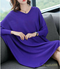Women V Neck Batwing Sleeve Mid Long Dress Thin Knitting Dresses Plus Size L-5XL