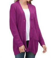 Woman Within Plus Size Vivid Berry  Shaker Knit Cardigan 2X(26/28)