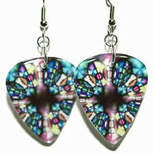 STAINED GLASS GUITAR PICK DANGLE EARRINGS (GP011)