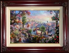 Thomas Kinkade Lady and the Tramp 18x27 A/P Canvas w/Heart Remarque Disney