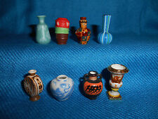 Minature Historic VASES URNS Set of 8 Mini Figurines Tiny FRENCH Porcelain FEVES