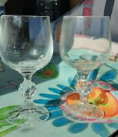 ANTIQUE French crystal glasses SET OF TWO STEMMED CORDIALS