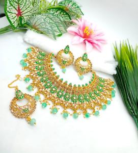Indian Bollywood Enameled Gold Plated Kundan Choker Necklace Tikka Jewelry Set