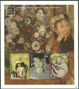 NEVIS 2014 ART PAINTINGS DEGAS PISSARRO MARC CAILLEBOTTE FLOWERS CATS SHEET MNH