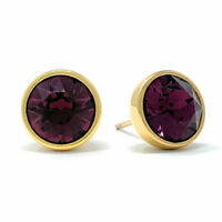 Stud Earrings with Purple Amethyst Round Crystals from Swarovski Gold Plated