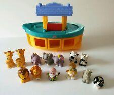 Fisher Price Noah's Ark & Giraffe Elephant Zebra Lion Cat Goat Rabbit 13 Figures