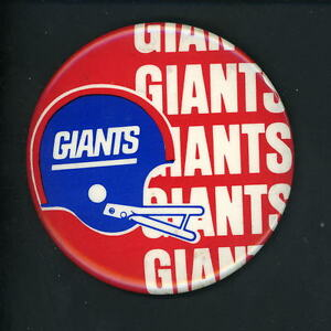 New York Giants LARGE 3 1/2 inch 1980 's era Button