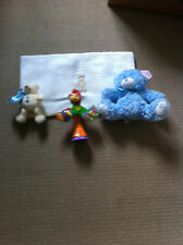WHITE COTTON WAFFLE BLANKET,BABY BOY BLUE TEDDY,CREAM TEDDY COMFORTER&RAINFOREST