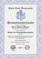 Doktortitel kaufen, komplett,  Rhein Ruhr Uni, Urkunde, Diplom, persönlich