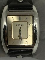 Fossil FS4509 Men's Black Leather Analog Dial Quartz Genuine Wrist Watch Ee3