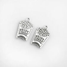 10X Silver French Fries Shape Charm Pendant DIY Necklace Bracelet Making Gift