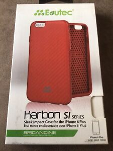 Evutec Karbon SI Series Sleek Impact Case Cover For Apple IPhone 6 6s Plus - Red