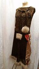 Vintage 1920's Brown Silk Velvet & Fur Trim Flapper Dress Size Small Medium