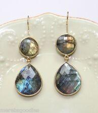 Labradorite Earrings Double Bezel Set, Vermeil, Blue Flash