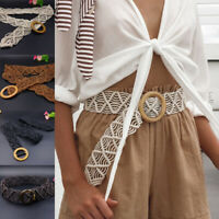 Women Dress Belt Waist Woven Band Wood Bohemian Wide Trendy Summer Crochet