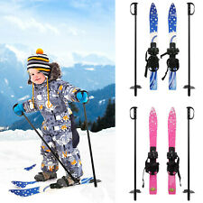 VILOBOS 69cm Kids Mini Snow Skis & Poles Beginner Winter Sports Gift w/ Bindings