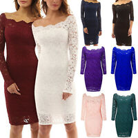 Womens Off Shoulder Long Sleeve Lace Bodycon Party Cocktail Midi Dress Clubwear