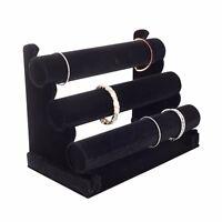 Plixio Jewelry Watch Bracelet Holder Display Stand 3-Bar Organizer Black Velvet