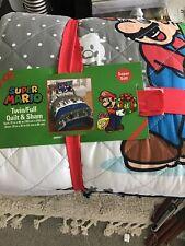Nintendo Super Mario Bedding Set Twin Full Quilt Pillow Sham Christmas New
