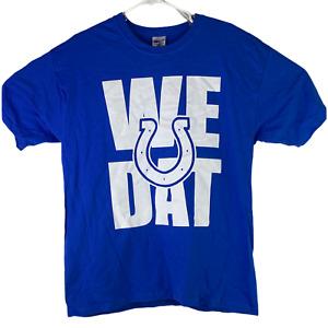 NFL Indianapolis Colts Logo Gildan Mens L Blue We Dat T-Shirt American Football