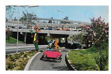Vintage Postcard Disneyland CA Tomorrowland Autopia Goofy Mickey Donald Duck