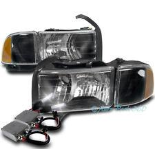 99-01 DODGE RAM 1500 SPORT BLACK HEADLIGHT W/CORNER TURN SIGNAL LAMP+50W 8K HID