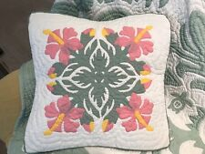 """2 Hawaiian quilt handmade 100% hand quilted/appliqued cushions pillow covers 18"""""""