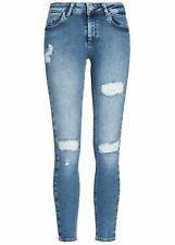 42% OFF B19020428 Damen Only Jeans Ankle Skinny Hose Destroy Look 5-Pockets blau