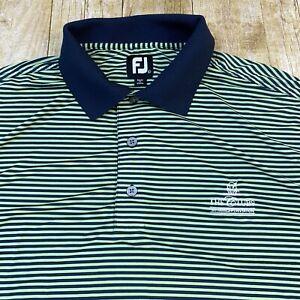 FootJoy FJ Men's Lime Green Black Striped Polo Golf Shirt Large