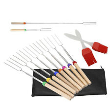 BBQ Marshmallows Roasting Sticks Skewers and Brush Outdoor Cooking Set with Bag