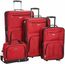 Rockland Luggage Expandable Wheeled 4 Piece Travel Set, Red