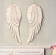 "Metal Angel Wings Home Decor Hanging Wall Sculpture 24"" Distressed White Ivory"