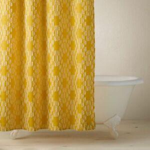 "Opalhouse Jungalow Clipped Geometric Jacquard Ogee 72"" Shower Curtain Bath Yello"