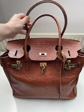 Real Leather Birkin Tote style Bag Tan Brown Vintage Gold Hardware Large
