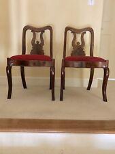 Antique Mahogany Accent Slipper Chairs (Pair) 19th Century Slip Bottom Seats