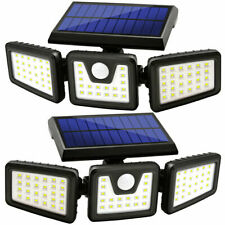 2Pcs Solar Lights Outdoor,LED Waterproof Motion Sensor Lights 3 Adjustable Heads