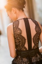 $338 BCBG Layton Black Lace Faux Leather Cocktail Dress SZ 10 Large L Medium M