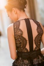$338 BCBG MaxAzria Layton Black Lace Faux Leather Cocktail Dress Sz 4 XS Small S