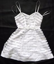 BEBE WHITE RIBBON STRIPE FIT & FLARE FULL SKIRT DRESS NEW SMALL S 6