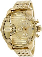 Diesel Little Daddy Dual Time Chronograph Gold-tone Dial Steel Mens Watch DZ7287