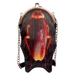 John Waters Roach Kiss Lock Handbag Purse Horror Gothic Creepy Brown Vegan NWT