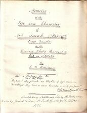 HAND WRITTEN MANUSCRIPT Memoirs of the Life and Character of Mrs. Sarah Savage
