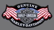HARLEY DAVIDSON EMBROIDERED GENUINE SILVER B&S USA FLAG (XXL) VEST PATCH